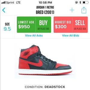 "new product 1a3b2 5c604 Jordan Shoes - DS Nike Air Jordan 1 2001 OG Bred ""RARE"" Size 9.5"